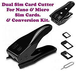 Dual 2 in 1 Micro Sim Cutter with Nano SIM Card SIM Adapter for iPhone 4/5/5S/6/ Samsung Galaxy S5/S4 Note 2/3/ Regular Sim (Black)