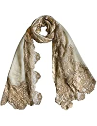 Vozaf Women's Cream Beige 4 Side Lace Content Wool Twill Size 70X180 Cms Colour White And Beige