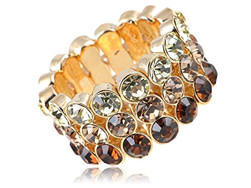 Diamantes de imitación auténtica topacio Ombre con los colores del diseño de diamantes anillo de elástico