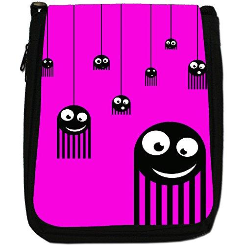 Monster Spiders-Borsa a tracolla in tela, colore: nero, taglia: M Nero (Pink Monster Spiders)
