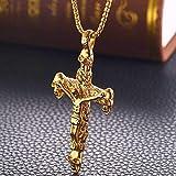 LHSZ Accessori in Acciaio Inossidabile Cristo Crocifisso Collana per Uomini E Donne Accessori in Acciaio al Titanio Ciondolo d' Oro + Catena di Perle Dorate