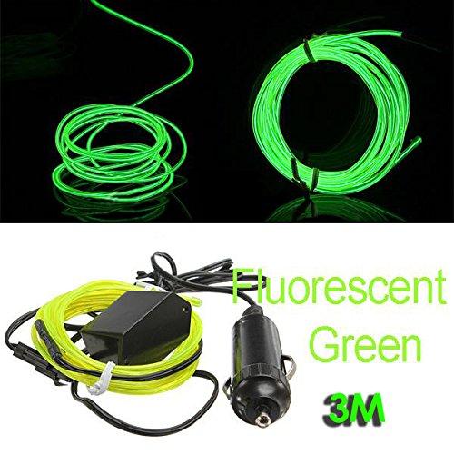 SODIAL (R) 3M Flexible EL Wire Neon-LED-Auto-Licht-Party Rope Tube + 12V Inverter - Fluorescent Gruen