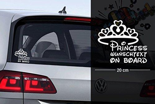 Princess - Prinzessin - Krone - Disney | Baby - Name On Board | Wunschtext | Auto Aufkleber | Lustig | Baby On Board (Disney Princess Kronen)
