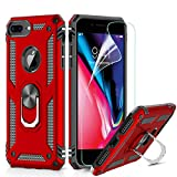 LeYi Cover per iPhone 7 Plus/8 Plus,iPhone 6s Plus/6 Plus Custodia, 360° Girevole Regolabile Ring Armor Bumper TPU Case Silicone Custodie con HD Pellicola per Apple iPhone 6/6s/7/8 Plus Case Rosso
