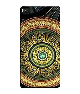 Fuson Designer Back Case Cover for Huawei P8 (Good Luck Geometric Design Peace Bussinessman Family)
