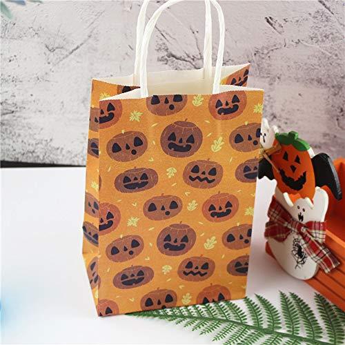 (10 Stück Halloween-Papiertasche Mit Griff Festival Cartoon Jack-O'-Lantern Boo Candy Party Geschenktasche Für Childern)