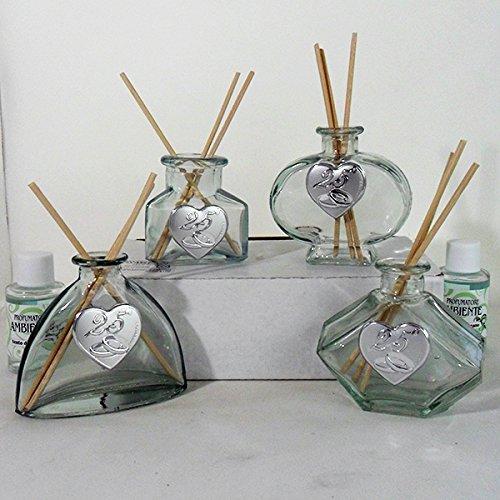 Bomboniere profumatore in vetro per 25° anniversario di matrimonio
