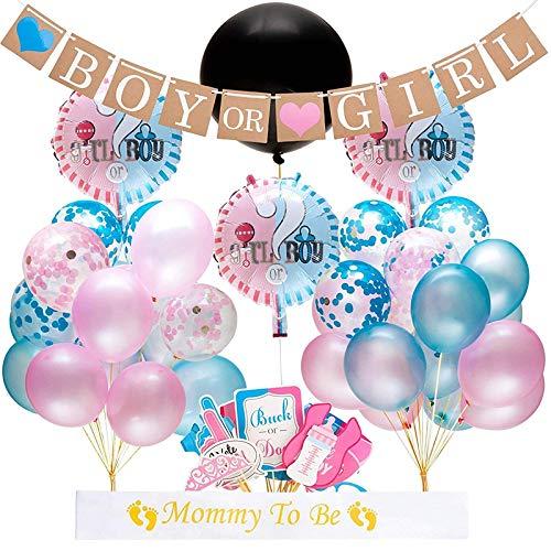 Danolt Junge und Mädchen Luftballons, 52 Pcs Geschlecht offenbaren Partyausrüstung Luftballons mit Konfetti - neugeborenes Foto Banner Stand Requisiten - Dekoration für Baby-Dusche Geburtstagsparty (Requisiten Foto-stand Ein Für)