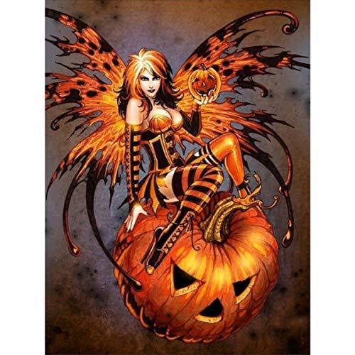 lerei Runde Bohrer Kits f¨¹r Erwachsene klebte Stickerei Kreuzstich Kunst Handwerk f¨¹r Hauptwanddekor Halloween Elf 12x16in ()