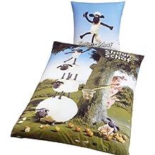Global Labels G 69 600 SDS2 100 Shaun Das Schaf - Apfelbaum Wendebettwäsche Renforcé 135 x 200 Bettbezug und 80 x 80 cm Kissenbezug