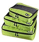 MOONPOP 3x Packwürfel Set Kofferorganizer Packtaschen Koffer Wäschtaschen Kleidertaschen Luggagebags Haushaltsware Reise Pack - Schwarz (Grün )