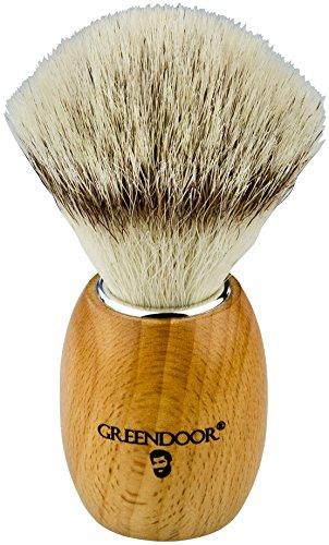 VEGANER Premium Rasierpinsel, einheimisches hartes Kirschholz + synthetischer Silvertip, sehr haltbar, macht wunderbaren Schaum, Handarbeit in deutscher Manufaktur, Männer Geburtstags-Geschenk - Harte Rasierseife
