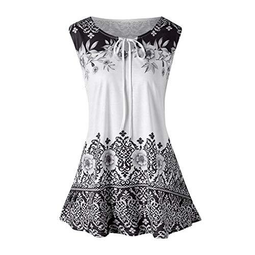 iHENGH Damen Top Bluse Lässig Mode T-Shirt Frühling Sommer Frauen Bequem Blusen Weste Plus Size Printed Tank Tops ärmellose Keyhole(Grau, 4XL) -
