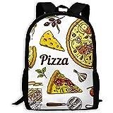 Großer Rucksack,Freizeitrucksack,Verstellbarer Rucksack College,Unisex-Umhängetaschen Set Pizza...