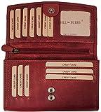 Hill Burry Damen hochwertige Geldbörse | XXL Leder - Langes Portemonnaie Viel Platz (Rot)