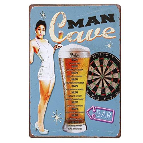 Vintage Poster Metallo BEER LADY Arredo Murale Pub Bar Cafe Casa 20x30cm