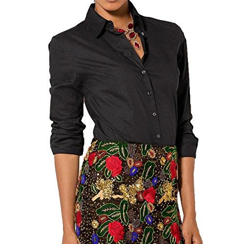 Femmes Chemises Manches Longues Tops Boutons Mode Chemises Automne Blouses T-shirts Décontractée Bureau Dames Chemises Travail Affaires Quotidien Blanc Noir Rose Rouge Bleu S-2XL hibote Noir