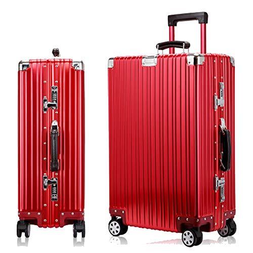 YSZG Alu-Legierung Trolley Koffer Mattiert Universal Räder Gepäck Aluminium Rahmen Gepäck Business Boarding Koffer, Legierung, rot, S 100.00watts
