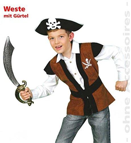 Piratenweste Pirat Weste 128 mit Gürtel Oberteil Fasching Kinder-Kostüm