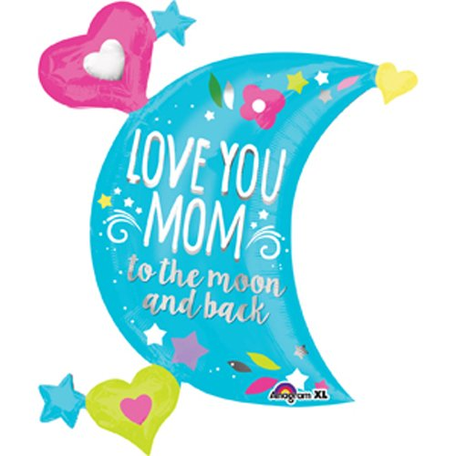 Love You MOM Moon Foil Balloon