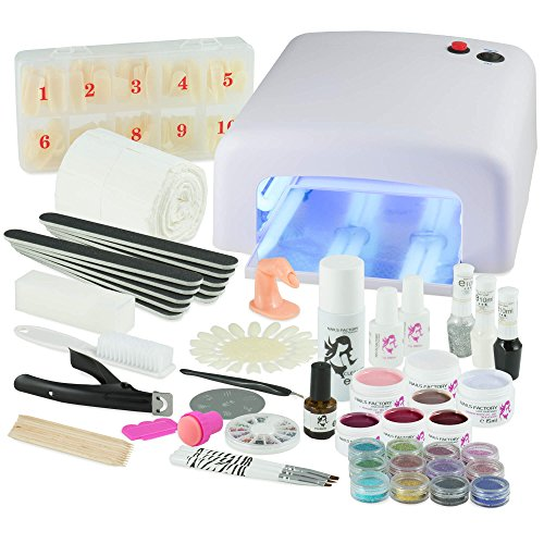 UV Gel Nagelstudio Starter Set - optimaler Einstieg in das eigene Nageldesign mit dem Nagelset dank viel Nailart, UV Lampe und Farbgel Set Homely Advent (weiß)