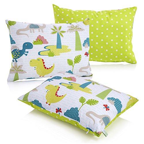 La Petite Unique | Almohada de niños, 35 x 25 cm | Almohada infantil con diseño apto para niños | Almohada de peluche 100% sin contaminantes | Almohada para bebés lavable completamente certificada por Ökotex | Dinosaurio verde