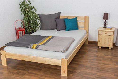 Einzelbett / Gästebett Kiefer Vollholz massiv natur A27, inkl. Lattenrost - Abmessung 140 x 200 cm