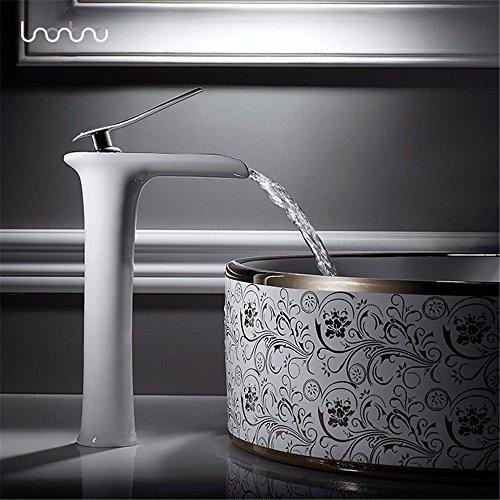YSRBath Moderne Waschbecken Waschtischarmatur Antike Kupfer Heiße und Kalte Einloch Einzigen Griff in Schwarz und Weiß Mischbatterie Bad Küche Wasserhahn Badarmatur