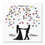 Madyes Leinwand Hochzeit Fingerabdruck Gästebuch Personalisiert Brautpaar Feuerwerk als Geschenk, Hochzeitsdekoration, Namen mit Datum. 50x50 cm groß auf Keilrahmen Holz