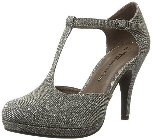 Tamaris Damen 24429 T-Spangen Pumps, Silber (Platinum Glam), 39 EU Damen Mary Jane Pumps