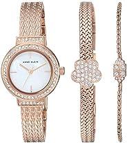 Anne Klein Women's Swarovski Crystal Accented Bangle Watch and Bracelet Set, AK/