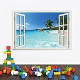 3D Removable Gefälschte Fenster-Ansicht Meer Strand Landschaft Vinylwand -Abziehbild-Aufkleber-Wand (SeaView(60*90cm))