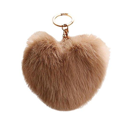 Minshao Cute Heart Shape Pendant Women Key Ring Holder Pompoms Key Chains