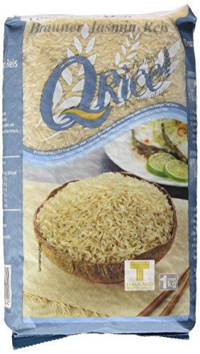 Q Rice Jasminreis, braun, Langkorn, 1 kg (Reis Im Reiskocher)