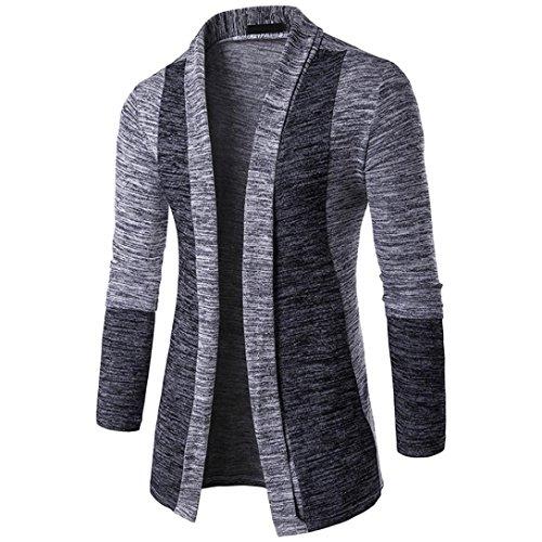 Uomogo cardigan da uomo, cardigan maglione maglia con bottoni da uomo con collo a v in cotone cardigan largo senza chiusura
