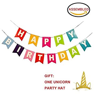 Mykey Classic Colorful Happy Birthday Banner Bunting With One