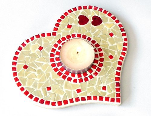 Mosaic Craft Kit for a Tea Light Base, white red