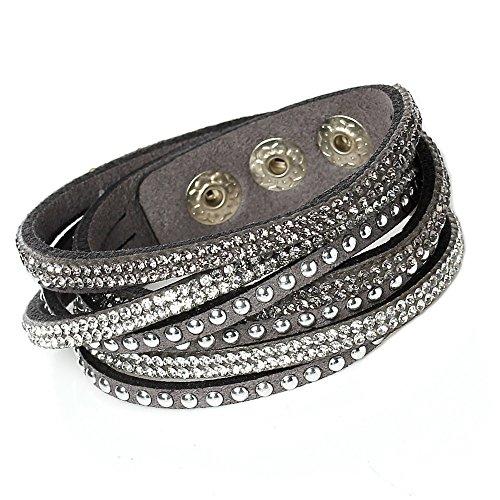 LeatherWear Damen Strass Armand Wickelarmband Kristalle grau weiß edles Alcantara Nieten mit Druckknöpfen zum verstellen