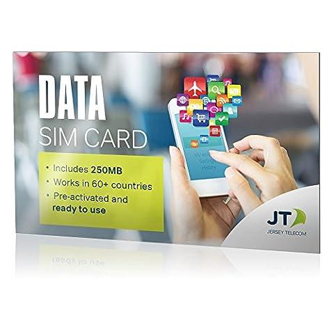Carte SIM de données LTE JT International avec 250Mo de crédit - à utiliser dans plus de 60pays