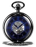 KS Reloj de Bolsillo con Cadena Hombres Antiguos Steampunk Esqueleto Mecánico con Caja de Regalo Color Negro KSP072