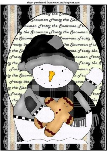 Nero e Bianco gelido il pupazzo di neve topper by Sharon Poore