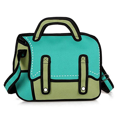 Wisdom Bäume 3D Jump Stil Damen Girl 's Fashion Cute Cross Body Single Shoulde Bag Reisetasche Handtasche Grün