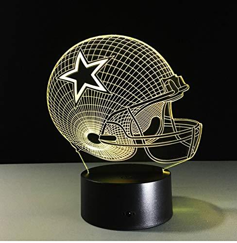 Dallas Cowboys Helm lamparas 3d led lampe 7 Farben Ändern acryl USB LED Tischlampe Kinder Geschenk Kreative Nachtlampe Wohnkultur (Dallas Helme Cowboy)