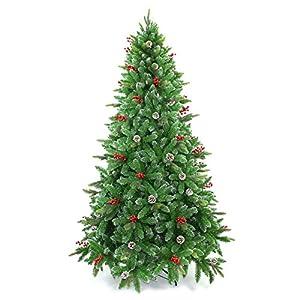 Gifts 4 All Occasions Limited SHATCHI-730 - Árbol de Navidad artificial con bayas, puntas esmeriladas y cono de pino, color verde