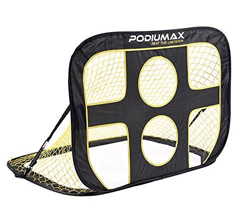 porte da calcio, gabbia pieghevole da calcio con rete,completo portatile per il calcio, per il gioco all'aperto, portatile, colori: nero / giallo.