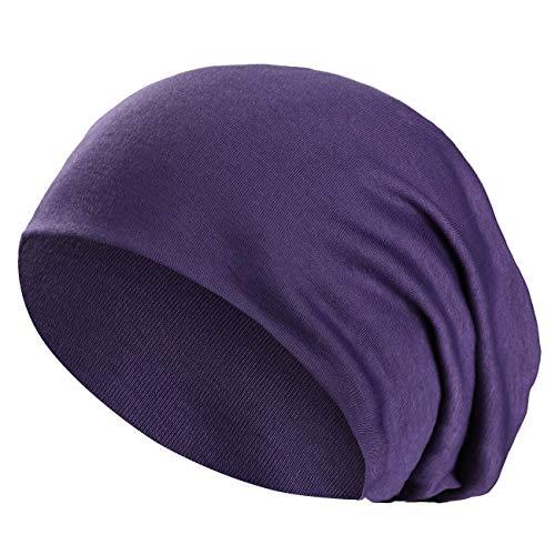 Wirezoll Winter Leicht und Weich Slouch Beanie Mütze für Damen, Herren, Jungen und Mädchen, Lila, Einheitsgröße (Beanie Lila Long)