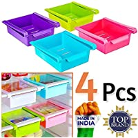 Sinex Fridge Organizer Set Space Saver Slide Storage Racks Shelf Drawer Refrigerator Parts & Accessories (Set of 4…