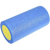 Wenquan,Yoga Gym Ejercicios Fitness PE Foam Roller Equipo de Masaje(Color:Azul Y Amarillo,Size:31 CM)