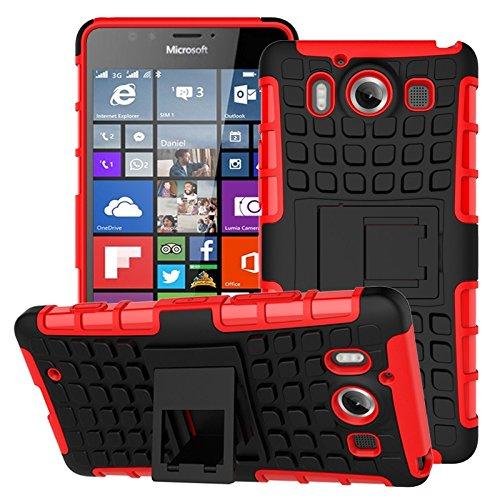 YHUISEN Lumia 950 Case, Dual Layer Rüstung Schockabsorbierende Schutzhülle mit Kickstand Für Microsoft Lumia 950 ( Color : Purple ) Red