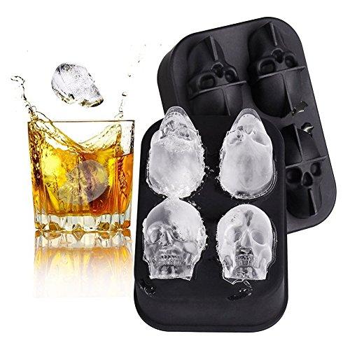 Eiswürfelform Silikon Surenhap 3D Skelett- , Schädeleinsform Silikon 4-Fach für Whisky Cocktails Süßigkeit Schokoladen Eisformen BPA Frei (Halloween Skelett Leben Größe)